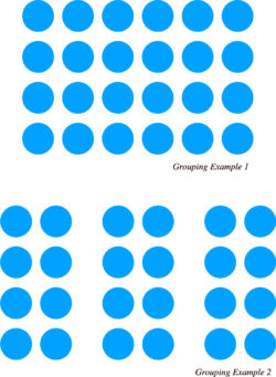 Two examples of circles appearing as one and multiple groups based on their proximity to one another.